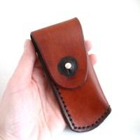 Pocket Knife Holder. Light brown leather pocket knife holder