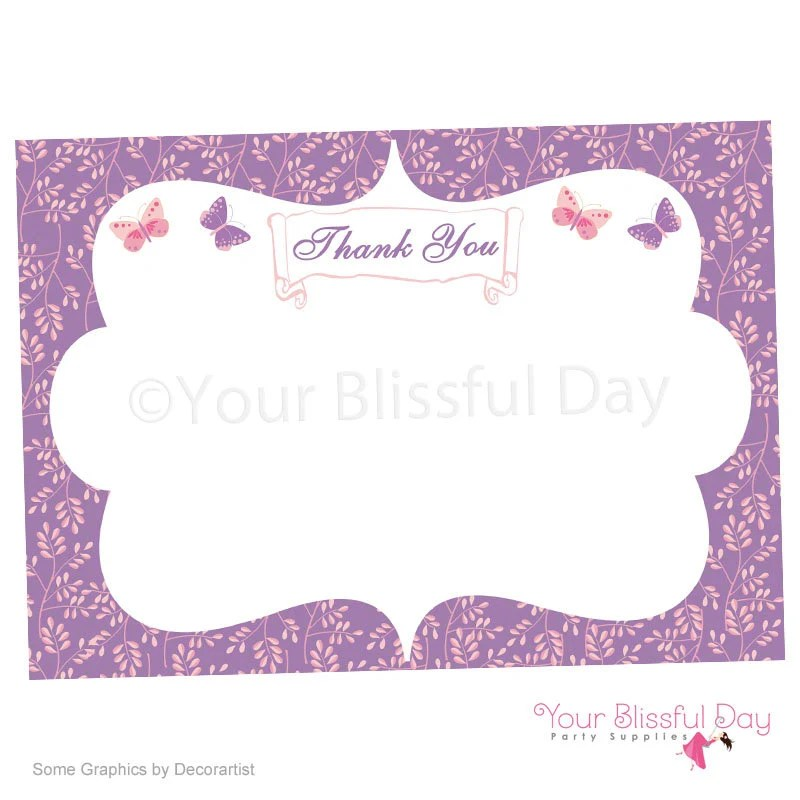 Enchanted Butterfly Printable Thank You Cards #526 Purple - butterfly thank you cards