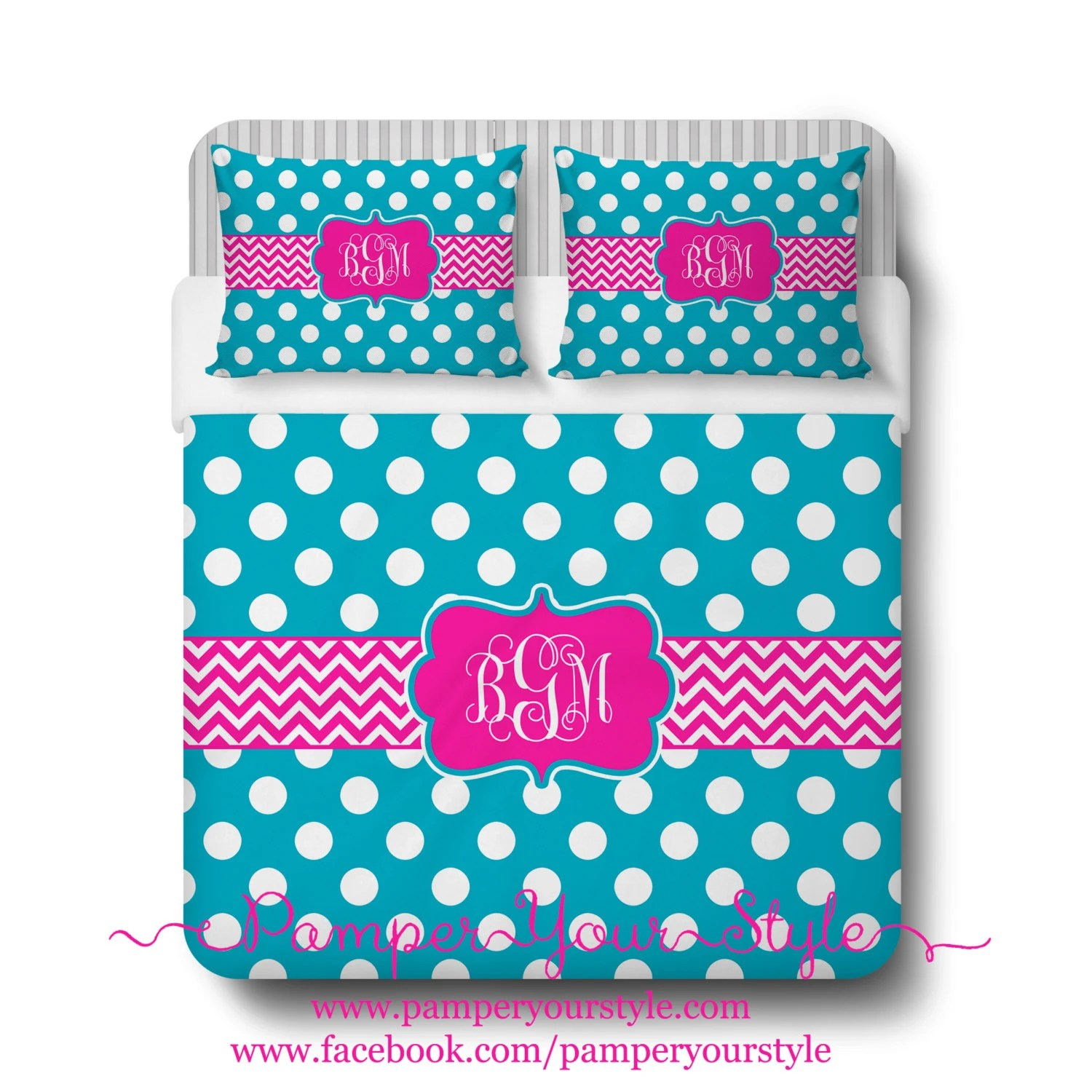 Polka Dot And Chevron Turquoise And Hot Pink Bedding Duvet