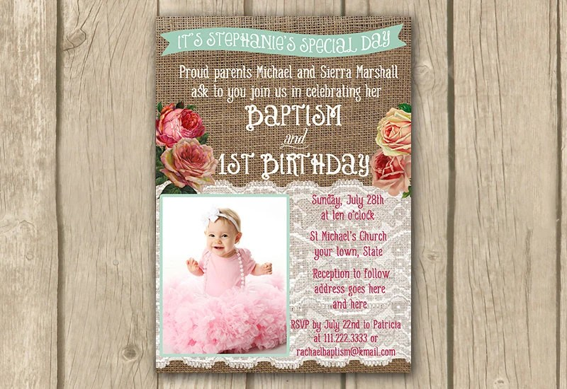 Baptism Invite Baptism 1st Birthday By Dulcegraceprintables