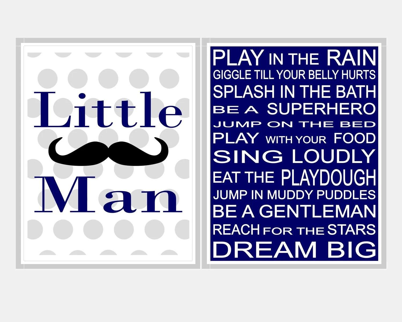 Baby Boy Art Boy Nursery Rules Little Man Moustache Wall