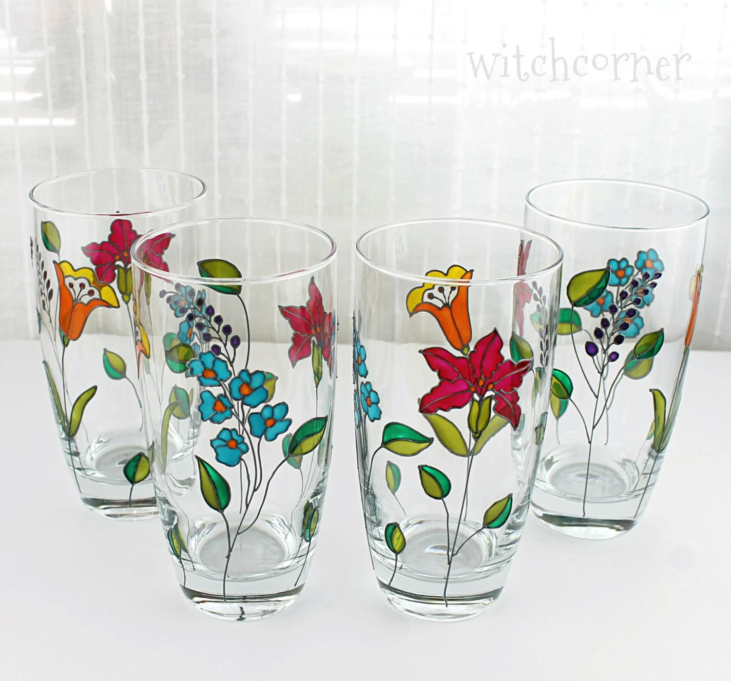 Drinking Glasses Designs Hand Painted Glasses Tumblers Water Glasses Glasses With