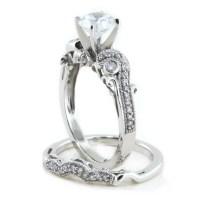 Beautiful Moissanite Engagement Ring Wedding Set Diamond Band