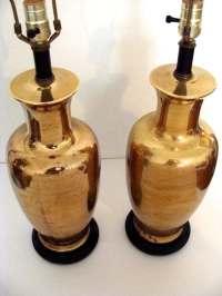 Gold Mercury Glass Ginger Jar Lamps PAIR Hollywood Regency