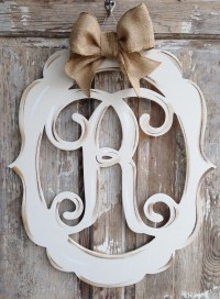 Monogram Door Decor Vintage Modern Distressed Burlap