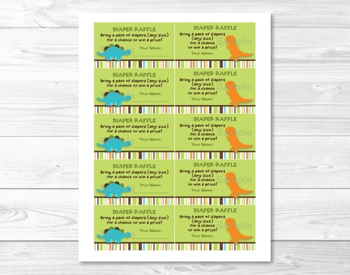Dinosaur Friends Printable Baby Shower Diaper Raffle Tickets eBay