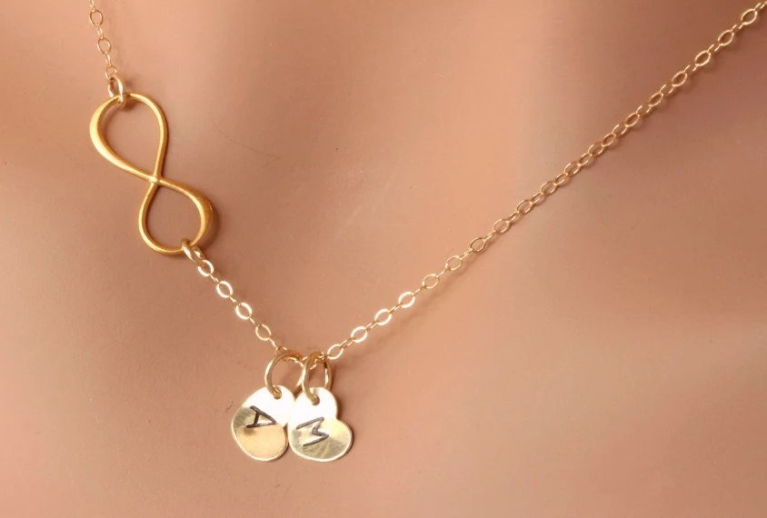 Gold Infinity Necklace With Initial Charmpersonalized