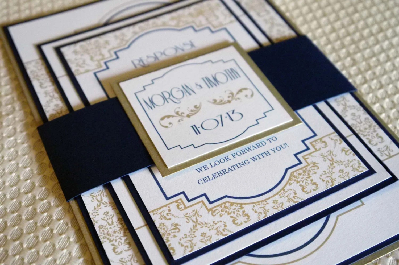 Navy Gold Renaissance Art Deco Wedding Invitation