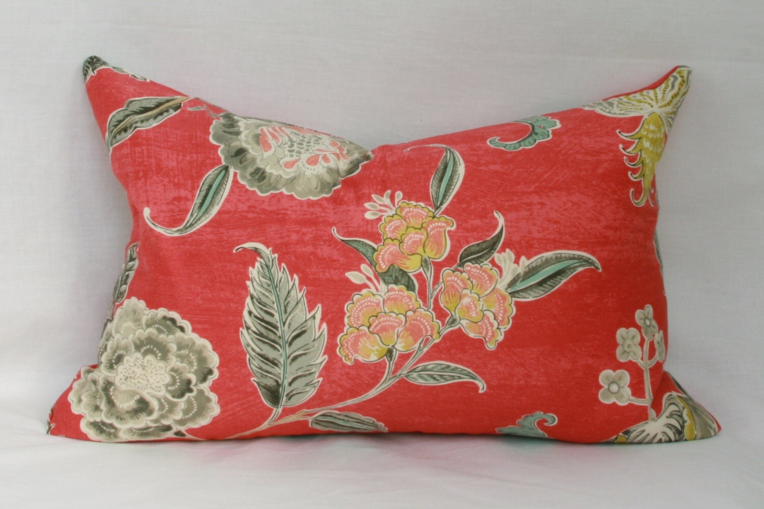 Red Floral Decorative Throw Pillow Cover Waverly Asian Myth