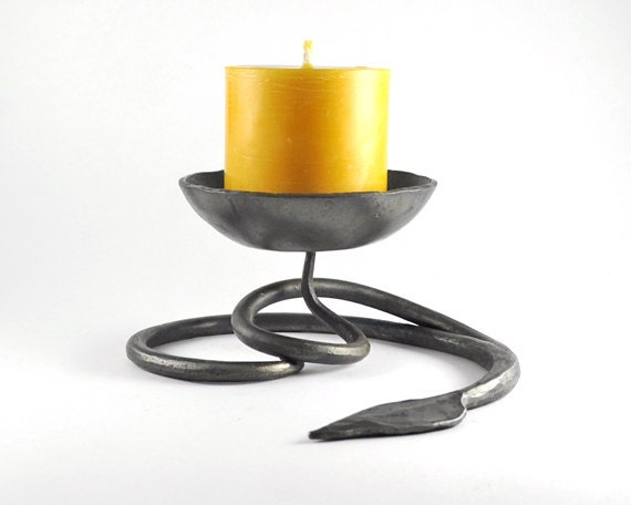 Leaf Candle Holder Hand Forged Wedding Gift By Randrhandmade