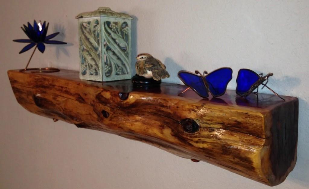 Cedar Log Shelf Rustic Wood Cabin Lodge Decor Log