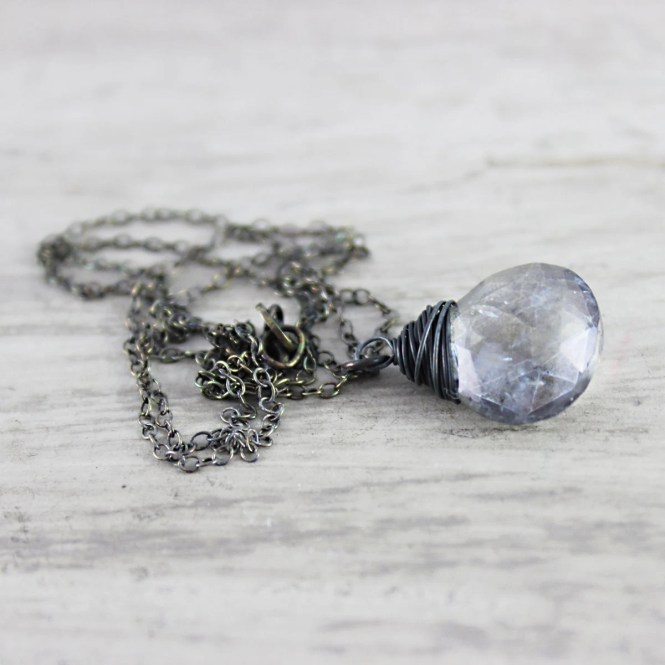 Denim Blue Necklace, Steel Blue Necklace, Quartz Gemstone Necklace, Wire Wrap Necklace, Black Oxidized Sterling Silver, Pendant Necklace