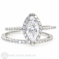 Marquise Moissanite Wedding Set Engagement Ring by RareEarth