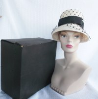 1960's Vintage White Straw Lamp Shade Hat with Black
