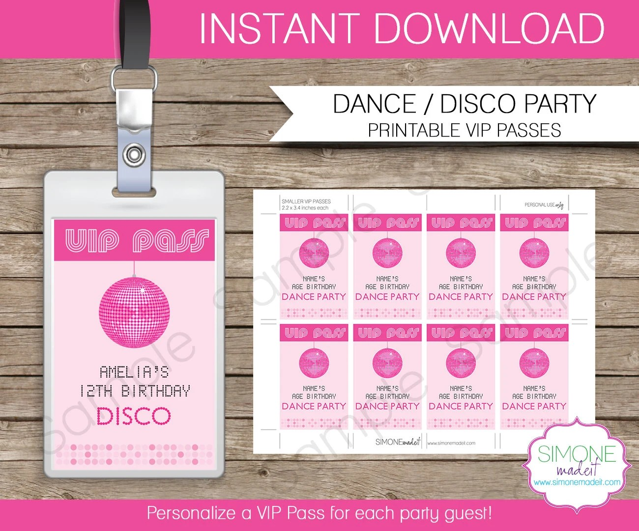 Disco Dance Party VIP Pass printable insert - INSTANT DOWNLOAD and - free vip pass template