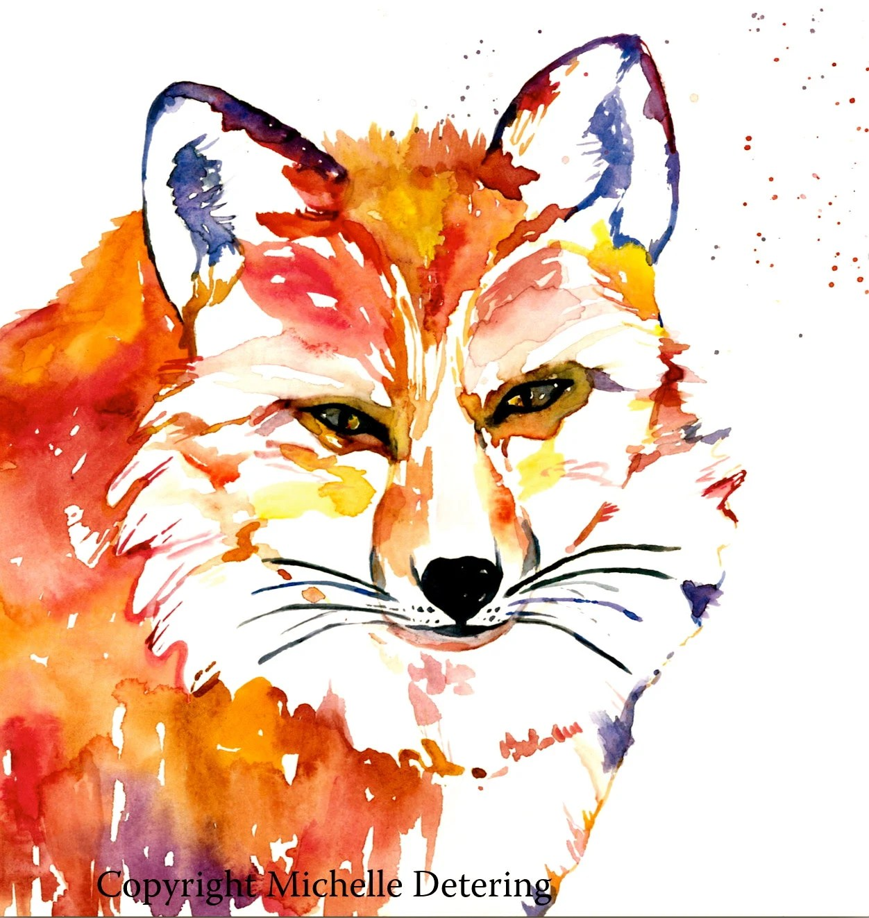 Abstract Fox Art Fox Watercolor Art Print 16x20 Abstract Fox Fox
