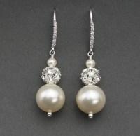 Pearl Bridal Earrings Rhinestone and Pearl Vintage Style
