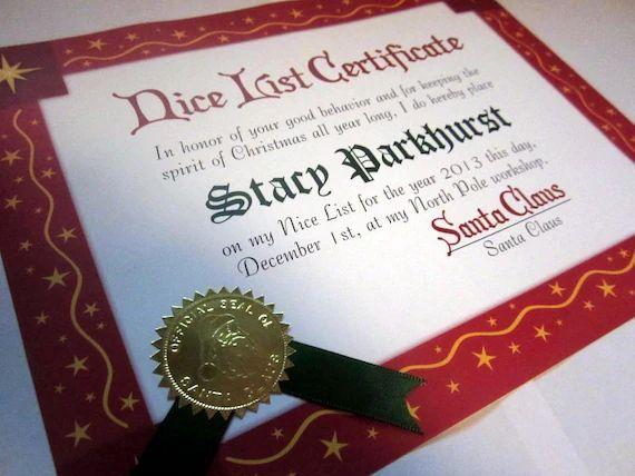 santa claus certificate