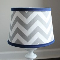 Small White Gray Chevron lamp shade with accent Navy blue.