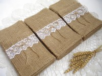 Set of 200 Burlap Silverware Holder wish white lace and bow