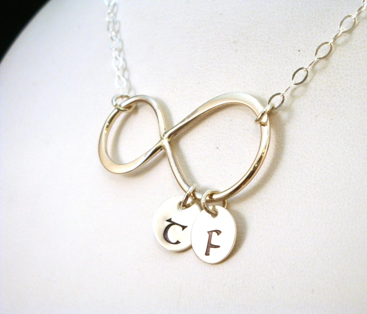 Infinity Necklace With Two Initials In Sterling By