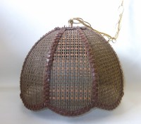 Brown Wicker Swag Lamp Mid Century Retro Lighting Eames Era