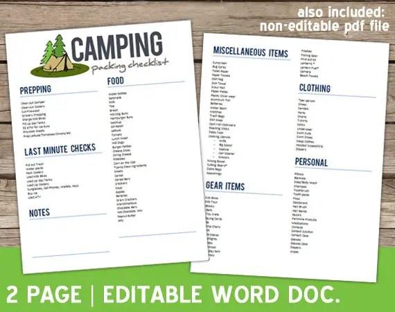 camping checklist template hitecauto - editable checklist template
