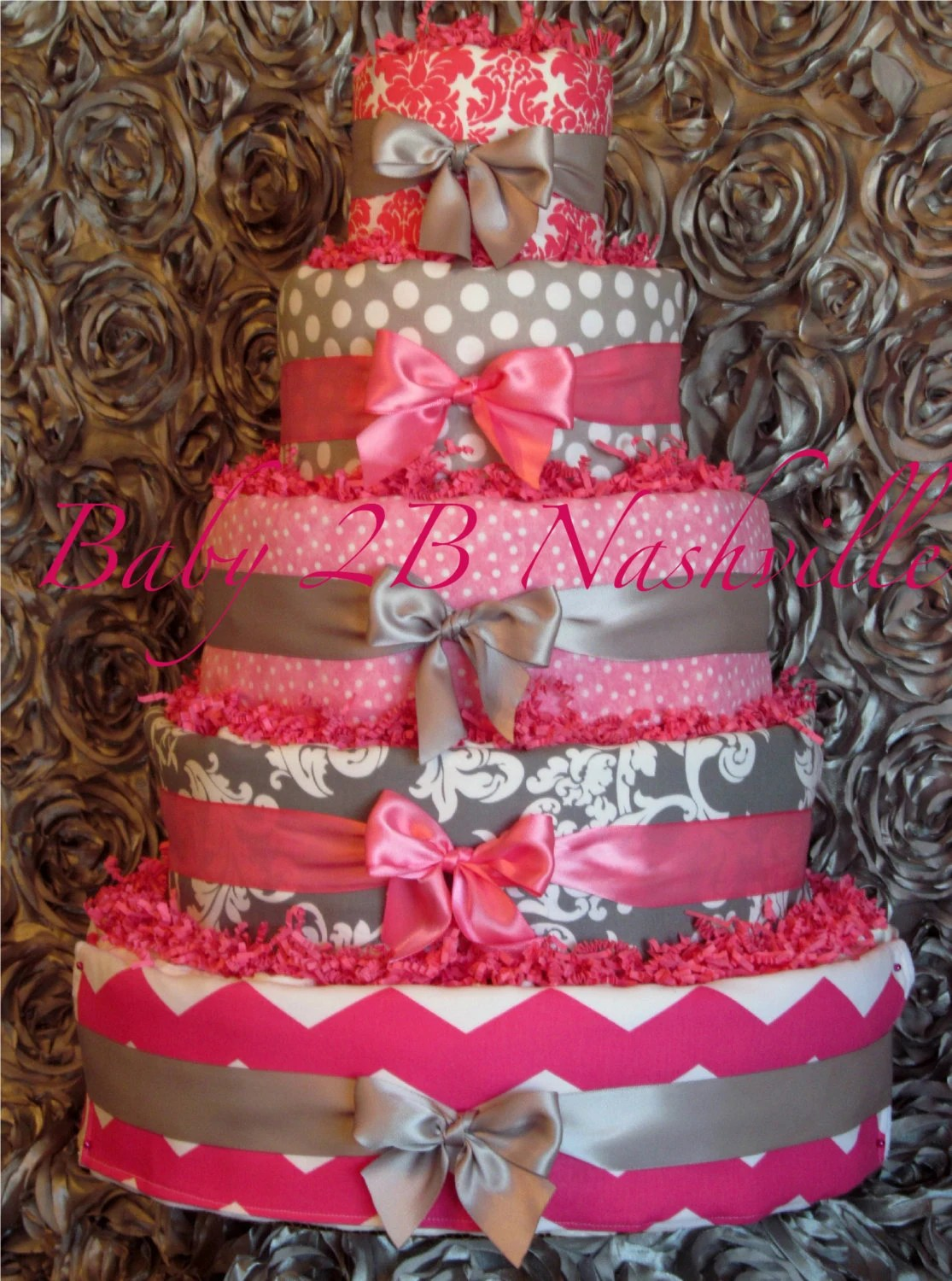 Baby Close Items Similar To Diaper Cake For Girls Pink And Silver