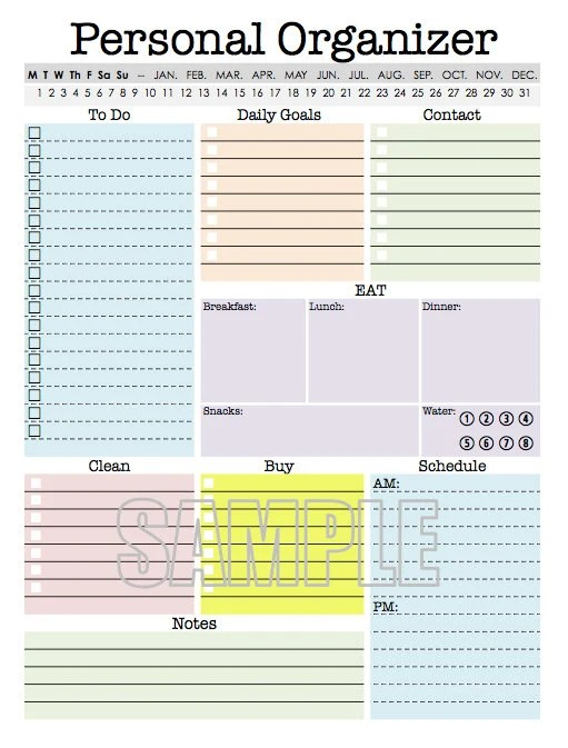 Personal Organizer EDITABLE Daily planner weekly planner - weekly checklist
