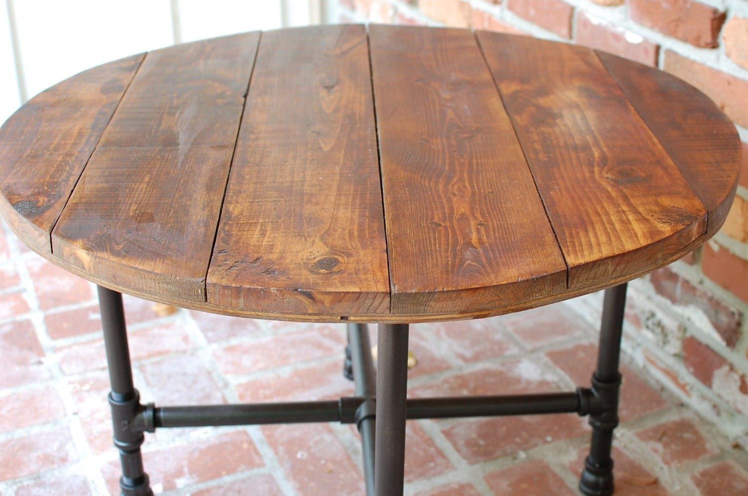 Round Industrial End Table Round Coffee Table Industrial Wood Table 30 By