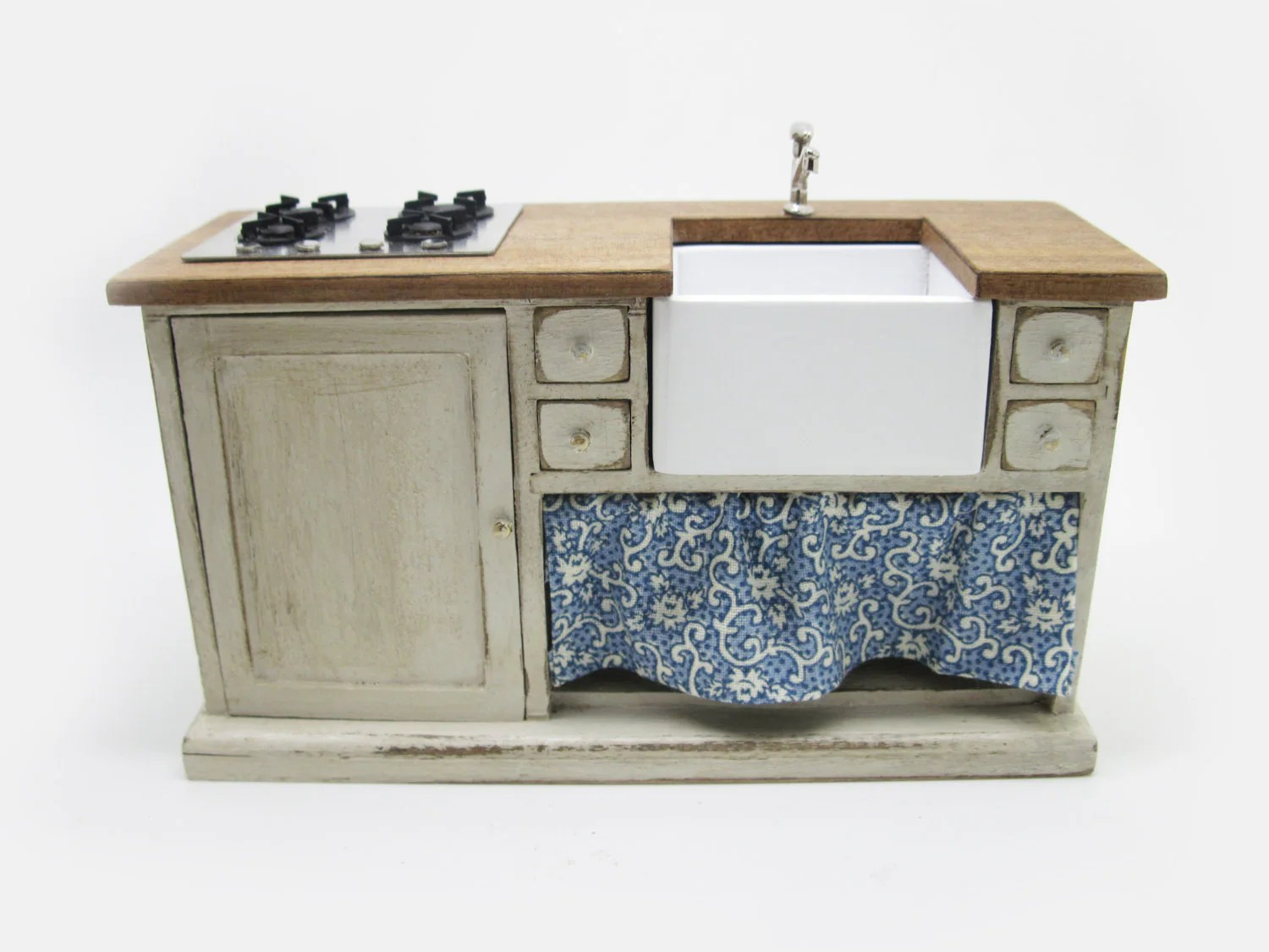 Spülenschrank Antik Miniature Dollhouse Furniture Sink Cabinet With Steel Hob