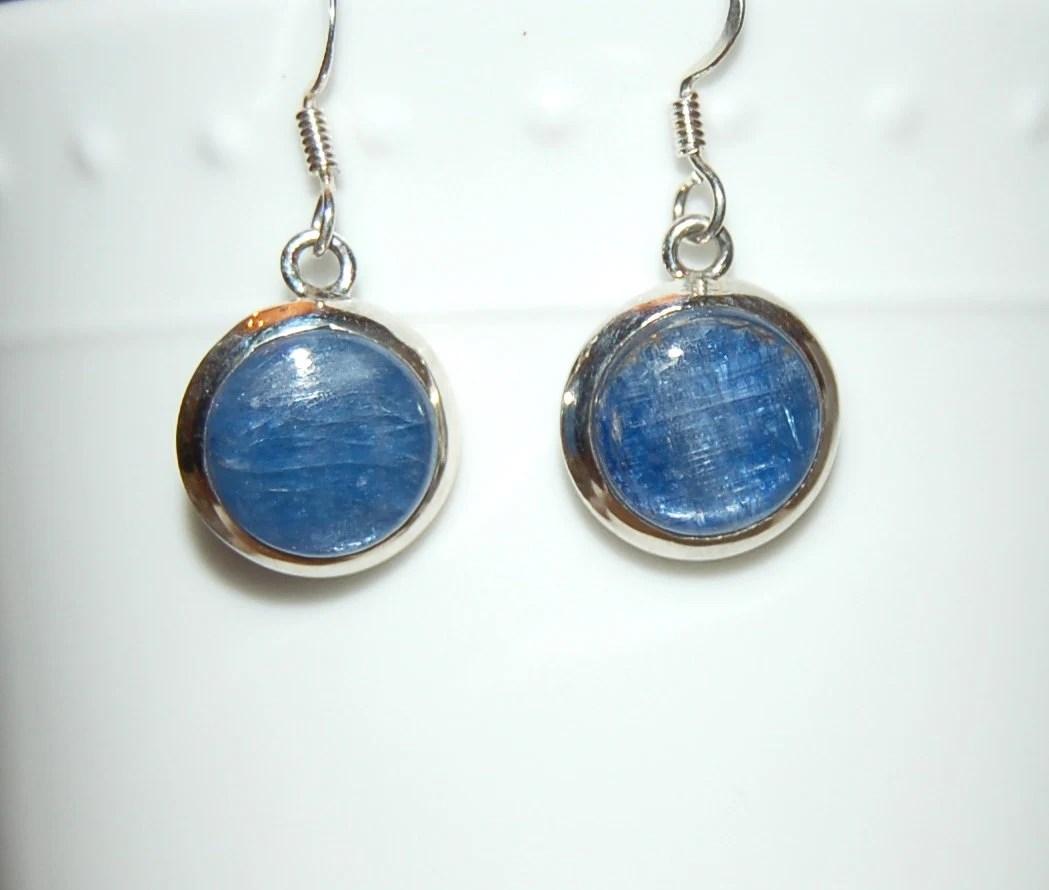 Kyanite Earrings Silver Blue Shimmer Sterling by