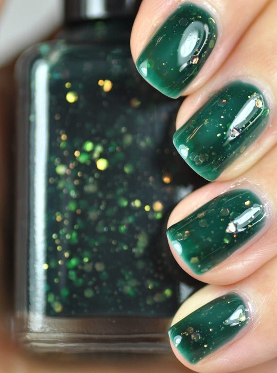 Wildwood Forest Green Jelly And Glitter Nail Polish 15ml