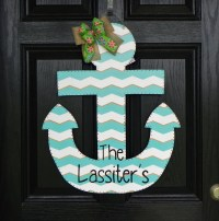 Items similar to Personalized Wooden Anchor Door Hanger on ...