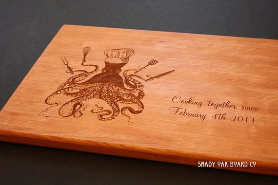 Items Similar To Personalized Cutting Board Octopus · Personalized Nautical Compass Clock Fathers Gift
