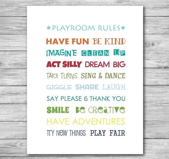 Playroom Wall Art Nursery Baby Child Print Play Room Rules