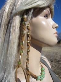2 Leather Hair Wraps Hair Tie Braid Ponytail Holders Bead Hair