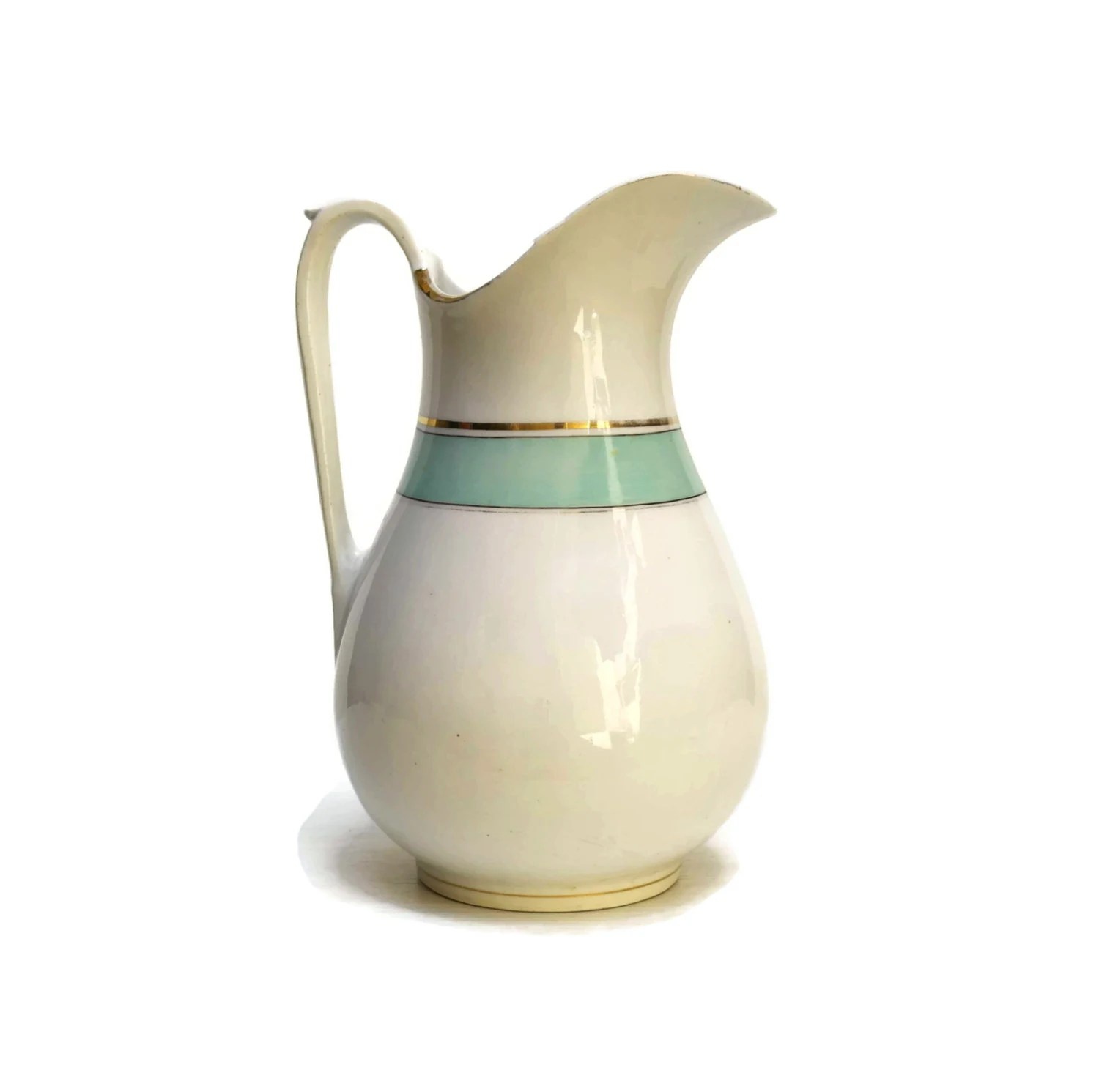 Water Pitcher Ceramic Large Vintage French Ceramic Aqua Water Pitcher French Home