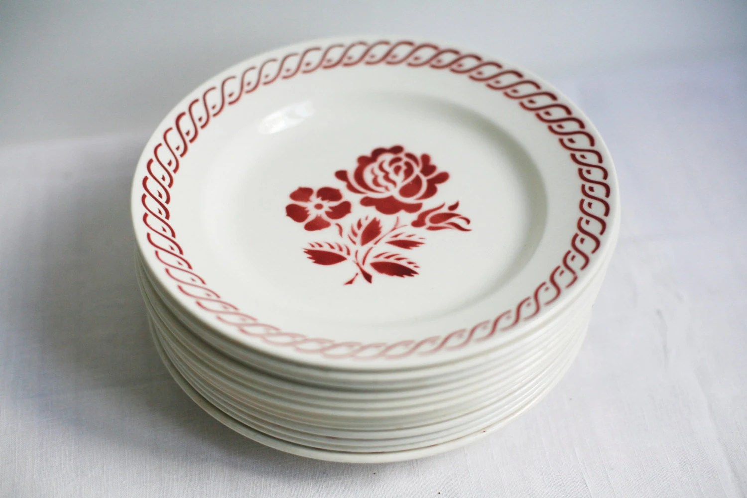 12 Dinner Plates French Country Kitchen Gien Floral Art Deco