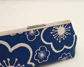Clutch with snap closure frame - Cornflower Blue fabric by Lotta Jansdotter