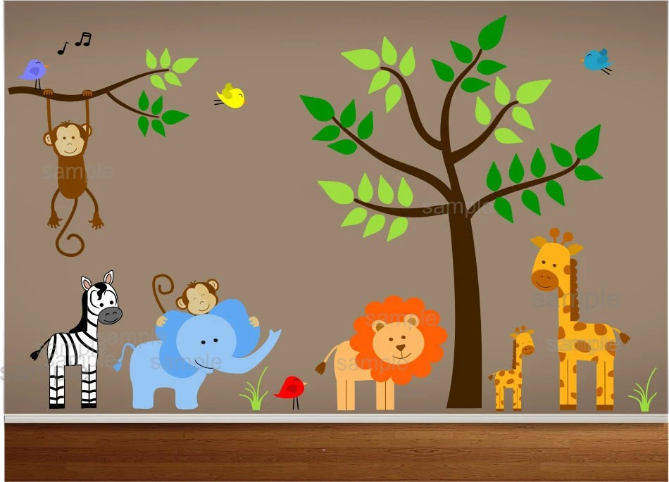 Jungle Theme Nursery Wall Decal Jungle Bedroom Art - Kinderzimmer Dschungel