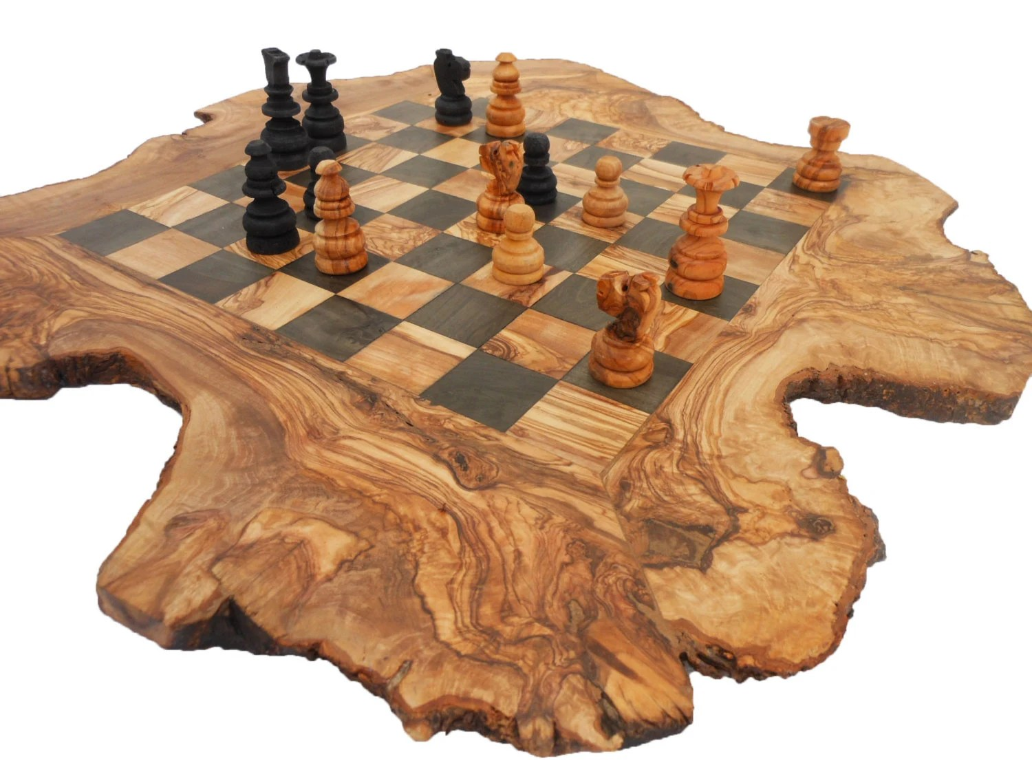 Personalized Chess Set Gift Unique Olive Wood Rustic Chess Board Custom Engraved