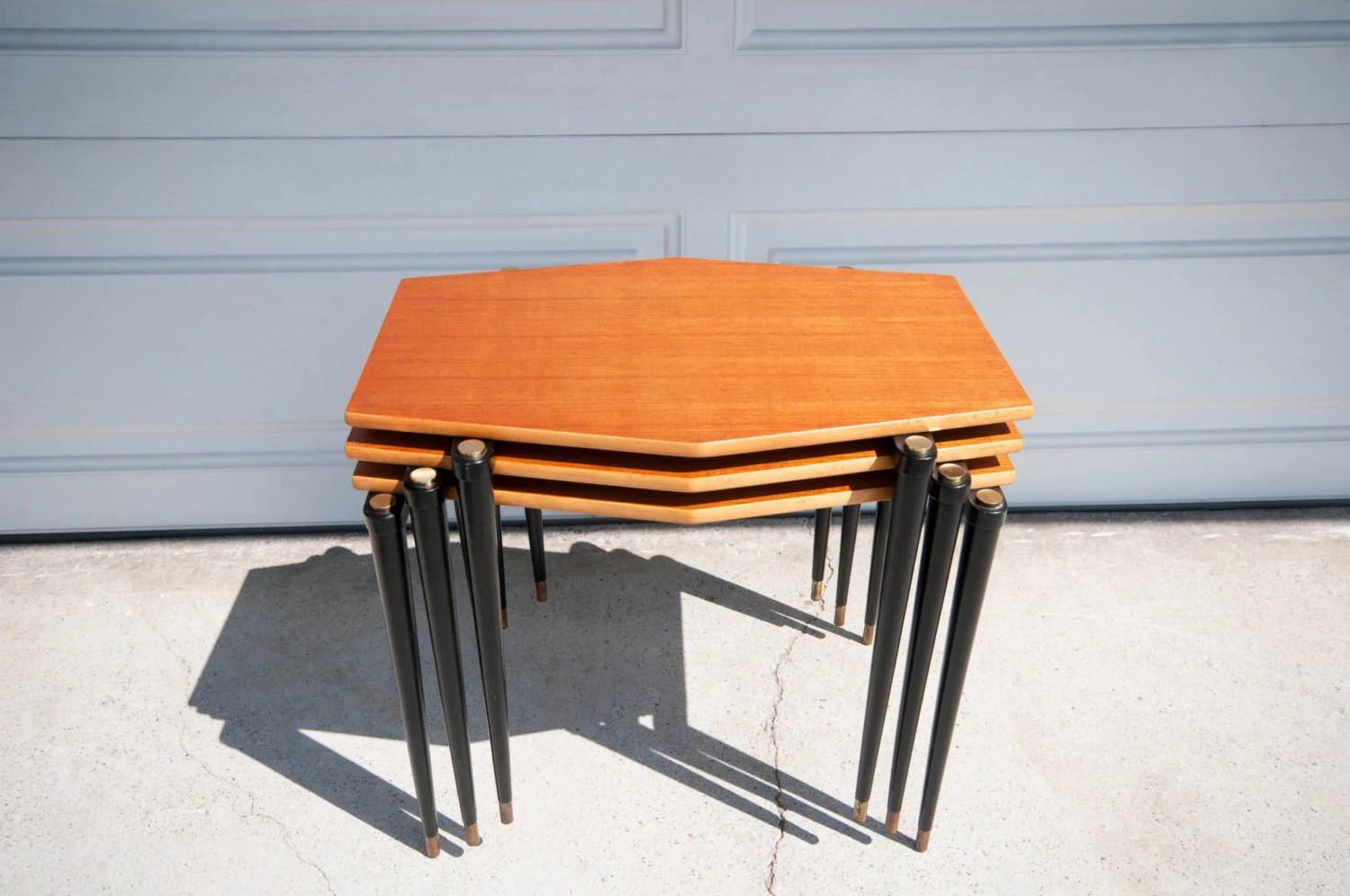 Stacking End Tables Mid Century Teak Stacking End Tables Haute Juice