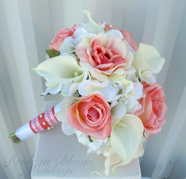 wedding bouquet 17pc Wedding Bouquet Bridal Silk flower CORAL TEAL GREEN MINT GRAY PEACH SILVER Fake wedding flowers Wedding and Flower