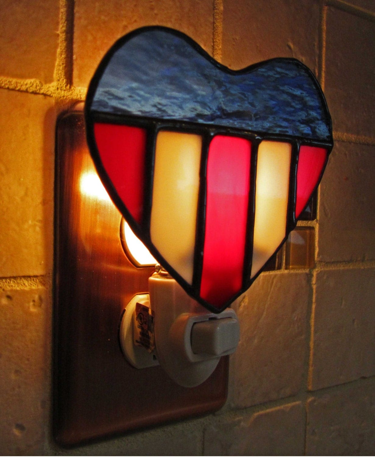 Glass Night Lights Handmade Stained Glass Night Light By Pinwheelstainedglass