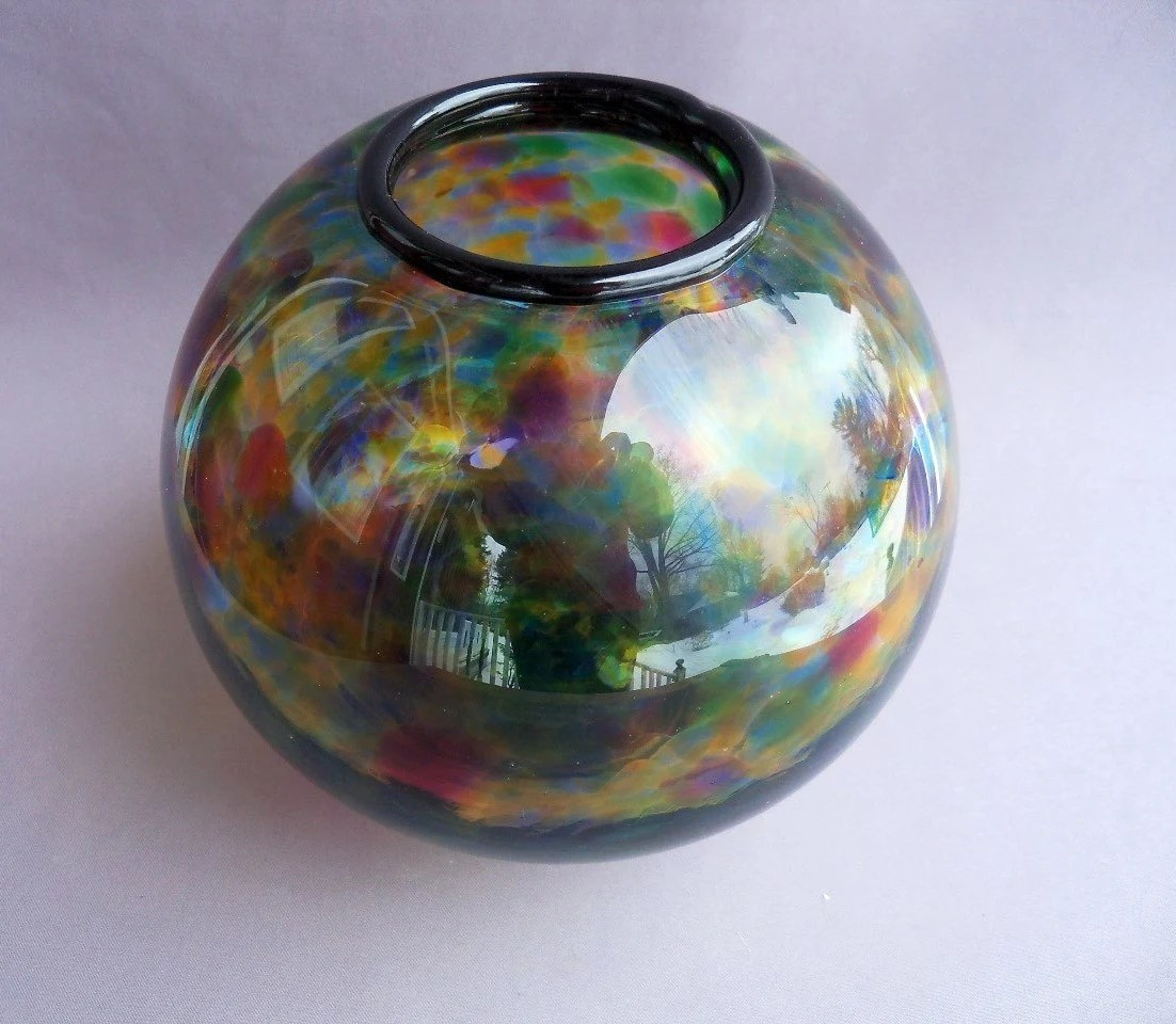Hand Blown Art Glass Multicolor Round Vase - Vase Glas Rund