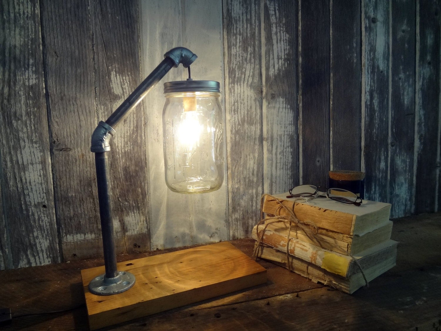 Industrial Chic Lighting Mason Jar Desk Lamp Industrial Lamp Mason Jar Light