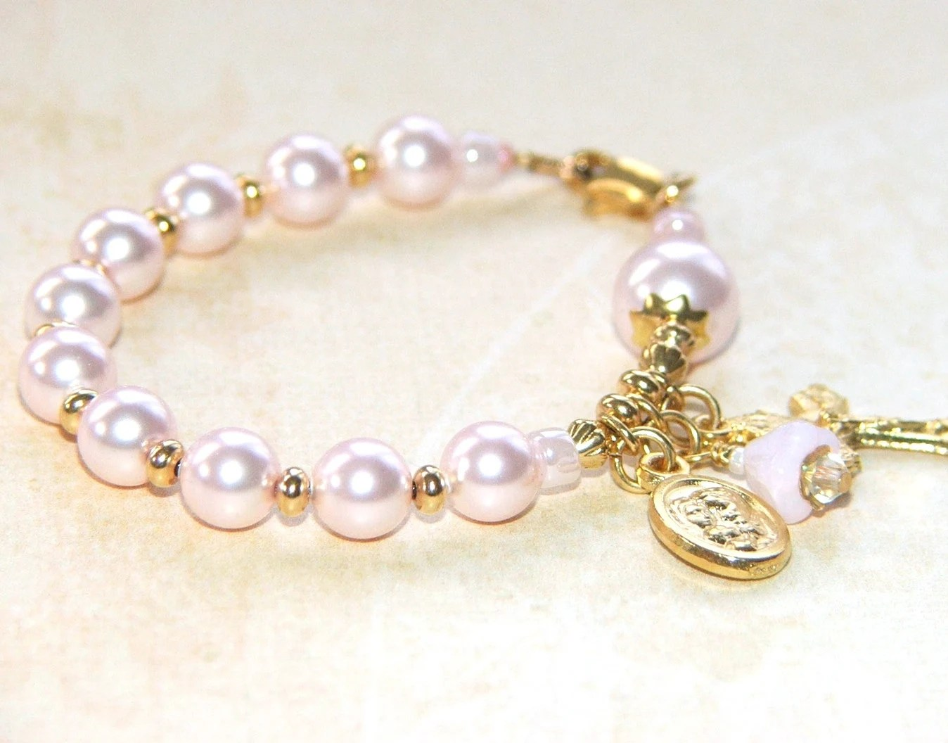 Catholic Baby Bracelet Rosary Bracelet For By Onedaysgracenz