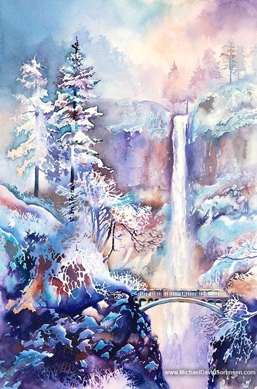 Multnomah Falls Oregon Winter Wallpaper Limited Edition Watercolor Painting Prints Oregon Waterfalls