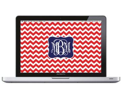 Items similar to Monogram Laptop Wallpaper - Chevron on Etsy